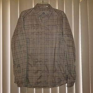 REI Men'sHiking, Travel, Casual Shirt Tan/Plaid